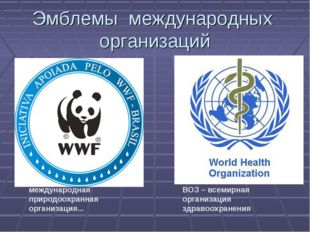 международная природоохранная организация... ВОЗ – всемирная организация здр