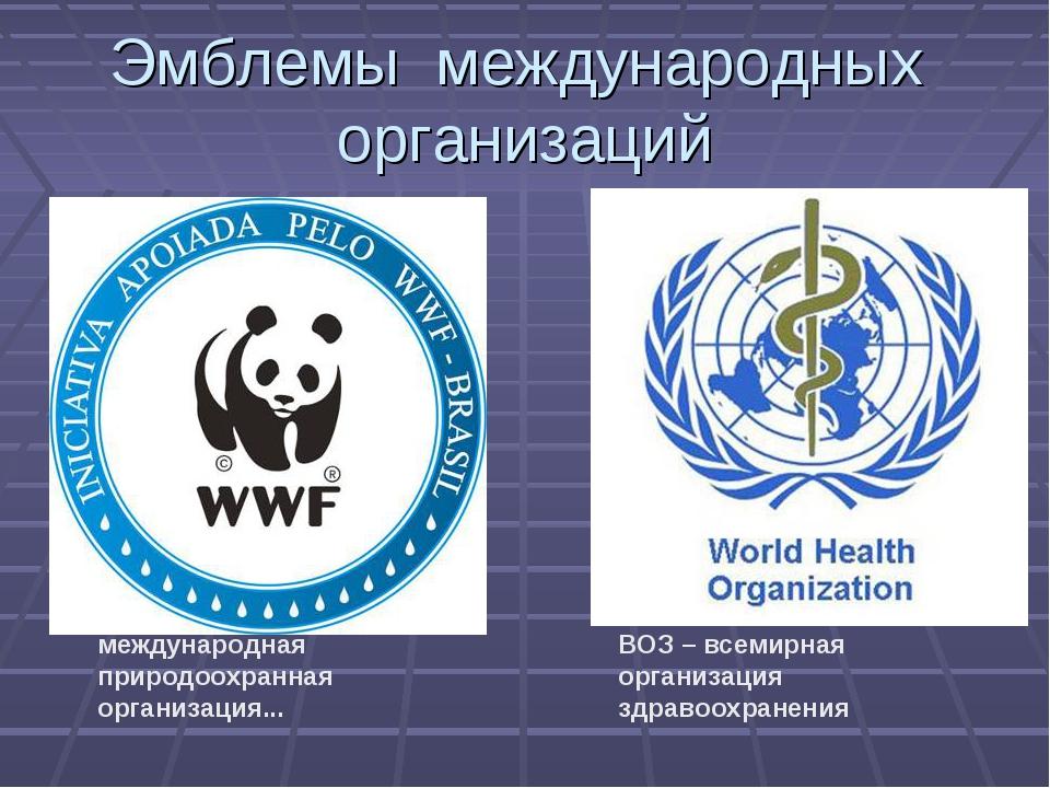 международная природоохранная организация... ВОЗ – всемирная организация здр...