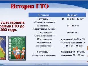Просуществовала программа ГТО до 1993 года. История ГТО Ступень Возраст I ст