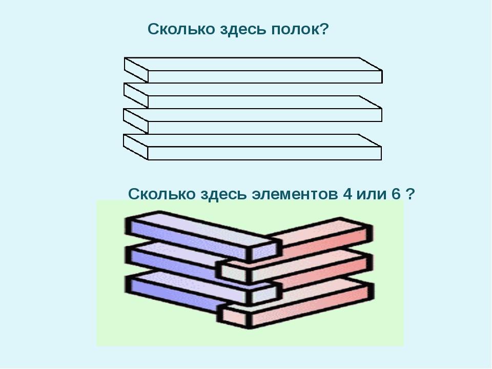 Сколько здесь полок? Сколько здесь элементов 4 или 6 ?