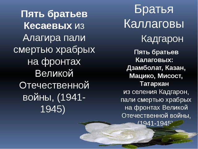 Братья Каллаговы Кадгарон Пять братьев Калаговых:  Дзамболат, Казан, Мацико,...