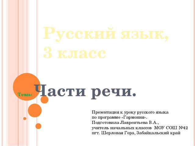 Русский язык, 3 класс Тема: Части речи.    Пр...