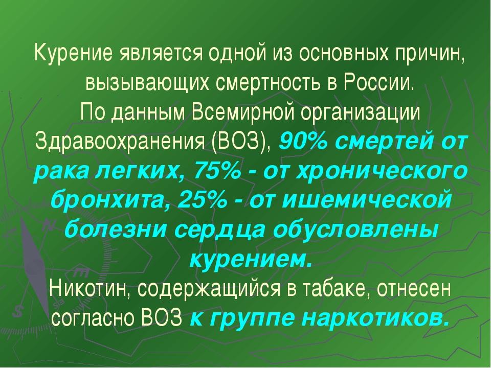 Курение является одной из основных причин, вызывающих смертность в России. По...