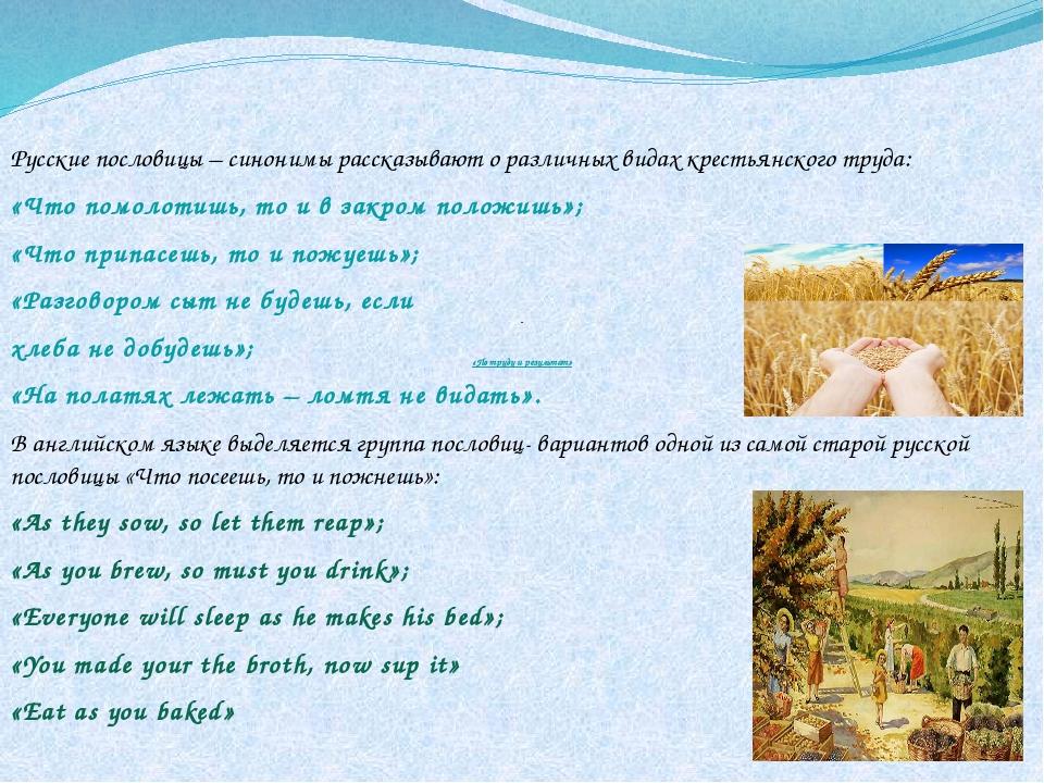 «По труду и результат» Русские пословицы – синонимы рассказывают о различных...