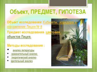 Объект, ПРЕДМЕТ, ГИПОТЕЗА Объект исследования: Кабинеты, коридоры и оформлени