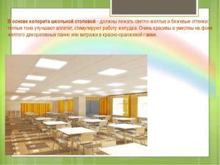 В основе колорита школьной столовой - должны лежать светло-желтые и бежевые о
