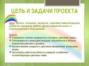ЦЕЛЬ И ЗАДАЧИ ПРОЕКТА Цель: изучить отношение лицеистов к цветовой гамме инте
