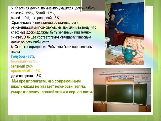 5. Классная доска, по мнению учащихся, должна быть: зеленой - 65%, белой - 17...