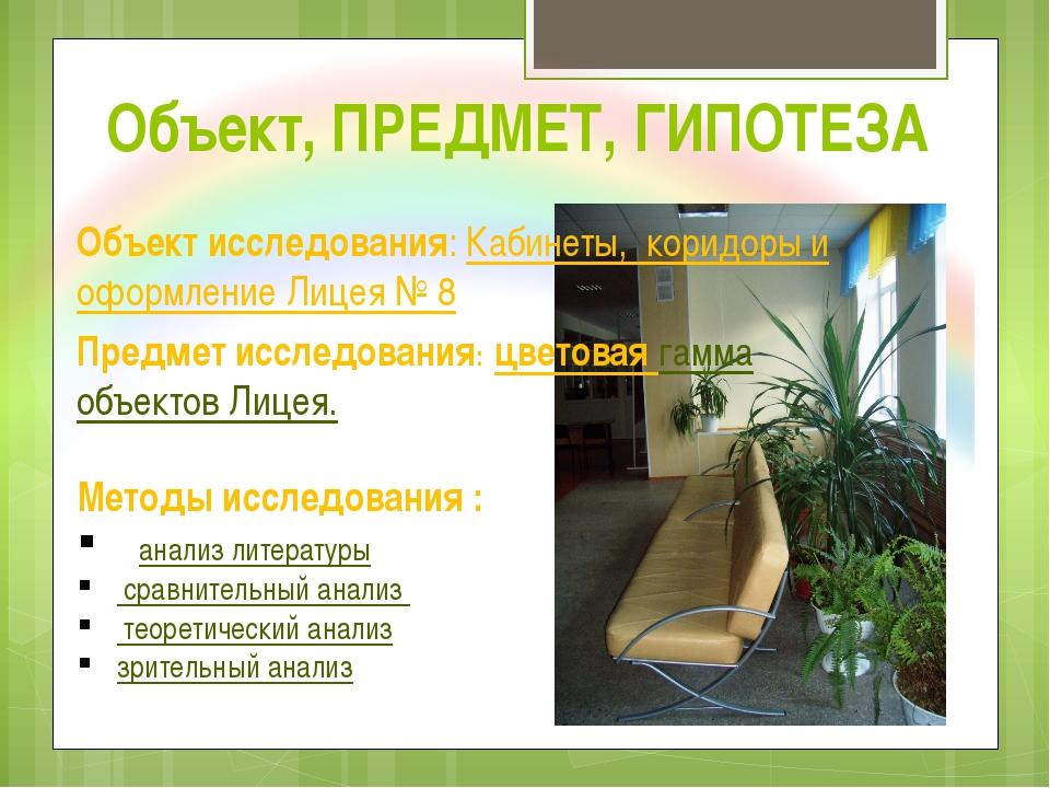 Объект, ПРЕДМЕТ, ГИПОТЕЗА Объект исследования: Кабинеты, коридоры и оформлени...