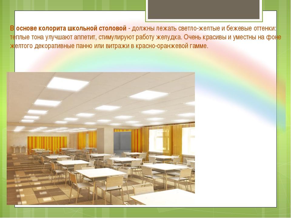 В основе колорита школьной столовой - должны лежать светло-желтые и бежевые о...