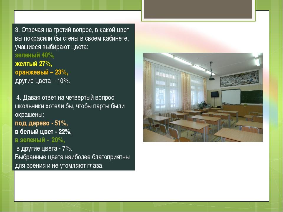 3. Отвечая на третий вопрос, в какой цвет вы покрасили бы стены в своем кабин...
