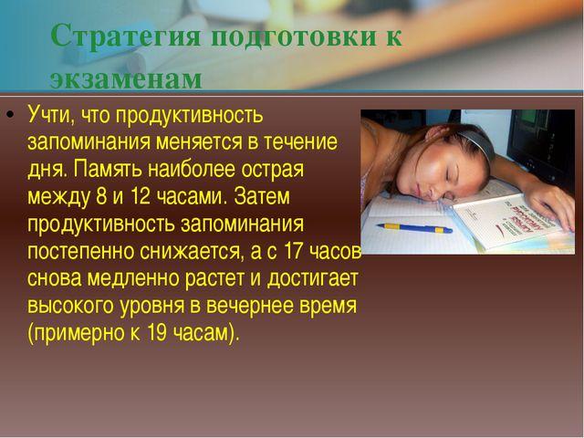Стратегия подготовки к экзаменам Учти, что продуктивность запоминания меняетс...