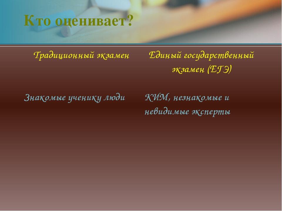 Кто оценивает? Традиционный экзамен Единый государственный экзамен (ЕГЭ) Знак...
