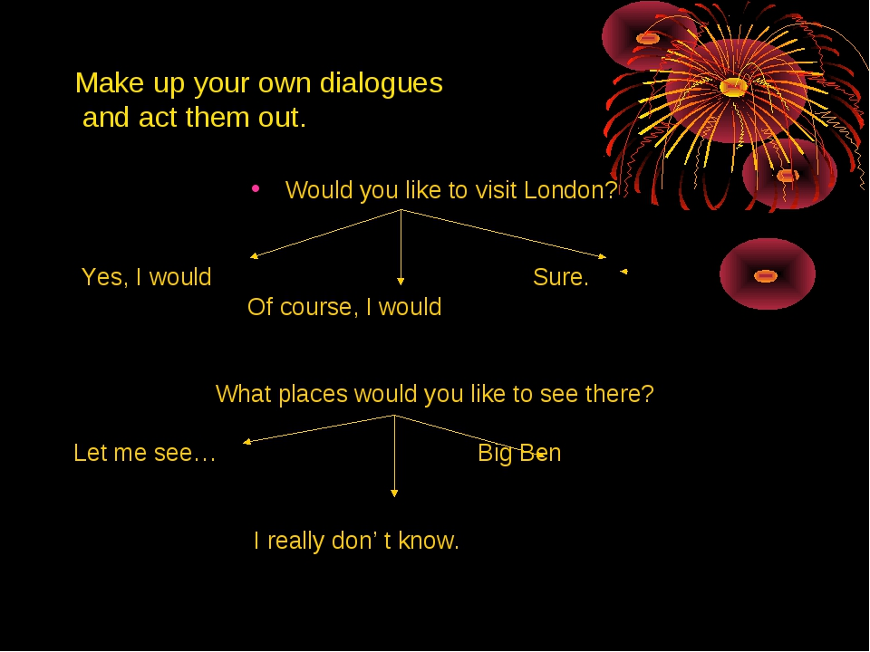 Make up your own dialogues and act them out. Would you like to visit London?...
