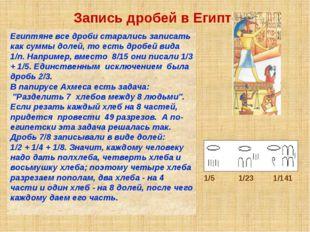 Запись дробей в Египте Египтяне все дроби старались записать как суммы долей,
