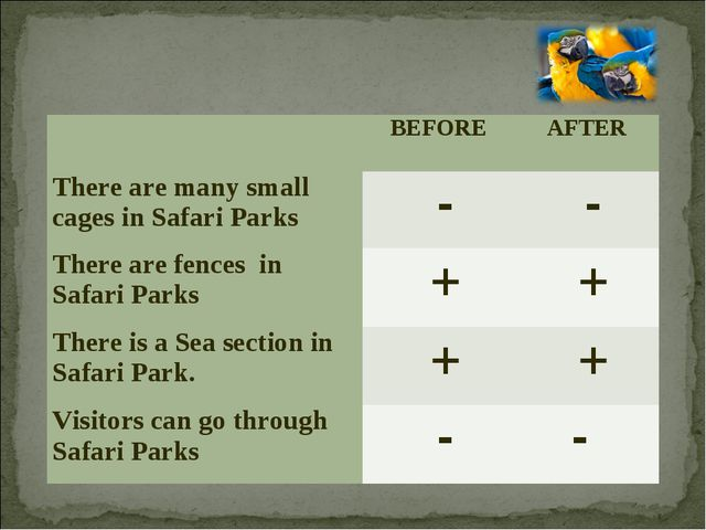 BEFORE 	AFTER There are many small cages in Safari Parks	 -	 - There are fe...