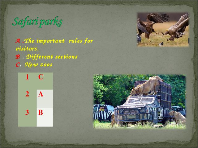 A .The important rules for visitors. B . Different sections C. New zoos 1C...