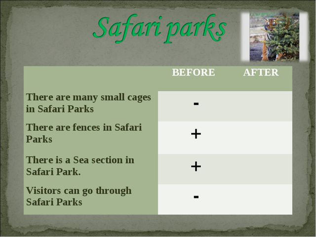 BEFORE	AFTER There are many small cages in Safari Parks	 -	 There are fences...
