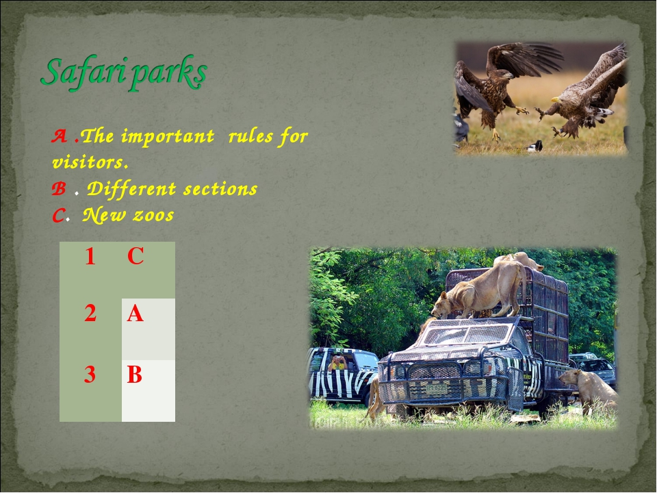 A .The important rules for visitors. B . Different sections C.  New zoos 1	C...