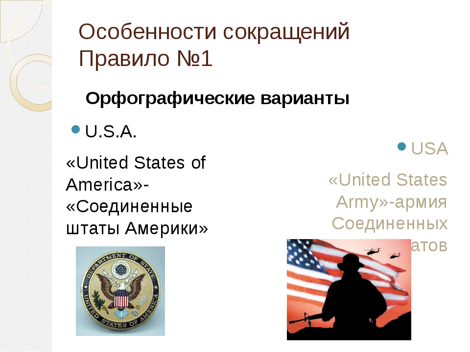 Особенности сокращений Правило №1 U.S.A. «United States of America»- «Соедине...