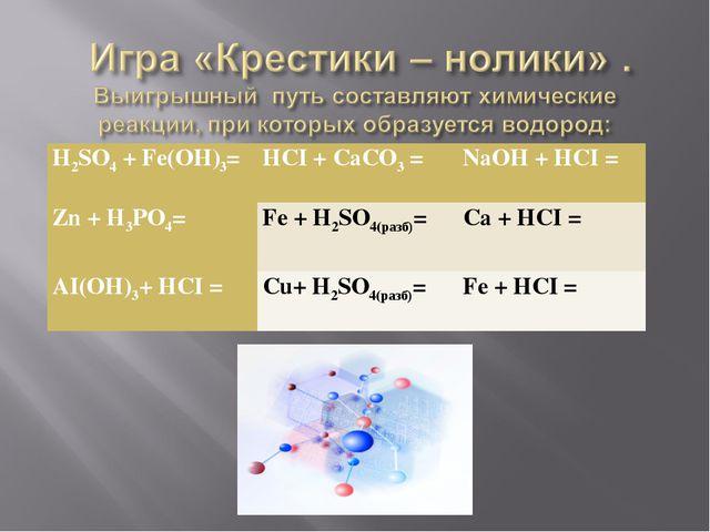 H2SO4 + Fe(OH)3=HCI + CaCO3 =NaOH + HCI = Zn + H3PO4=Fe + H2SO4(разб)=Ca...
