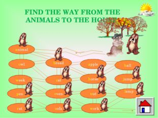 FIND THE WAY FROM THE ANIMALS TO THE HOUSE. animal owl week pen rat bread cat