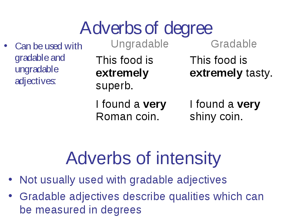 Adverbs of degree Can be used with gradable and ungradable adjectives: Adverb...