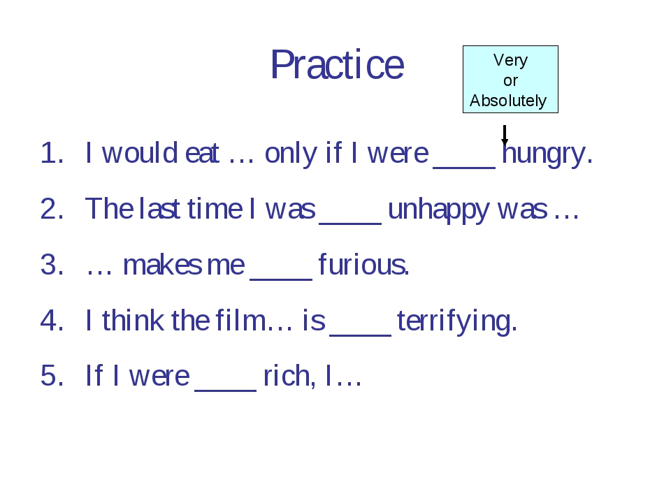 Practice I would eat … only if I were ____ hungry. The last time I was ____ u...