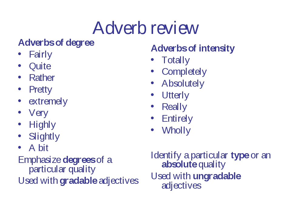 Adverb review Adverbs of degree Fairly Quite Rather Pretty extremely Very Hig...