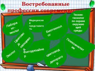 . Востребованные профессии современности Лаборант-эколог Фитодизайнер Психоан