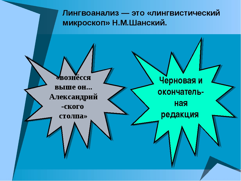 Лингвоанализ — это «лингвистический микроскоп» Н.М.Шанский. «вознёсся выше он...
