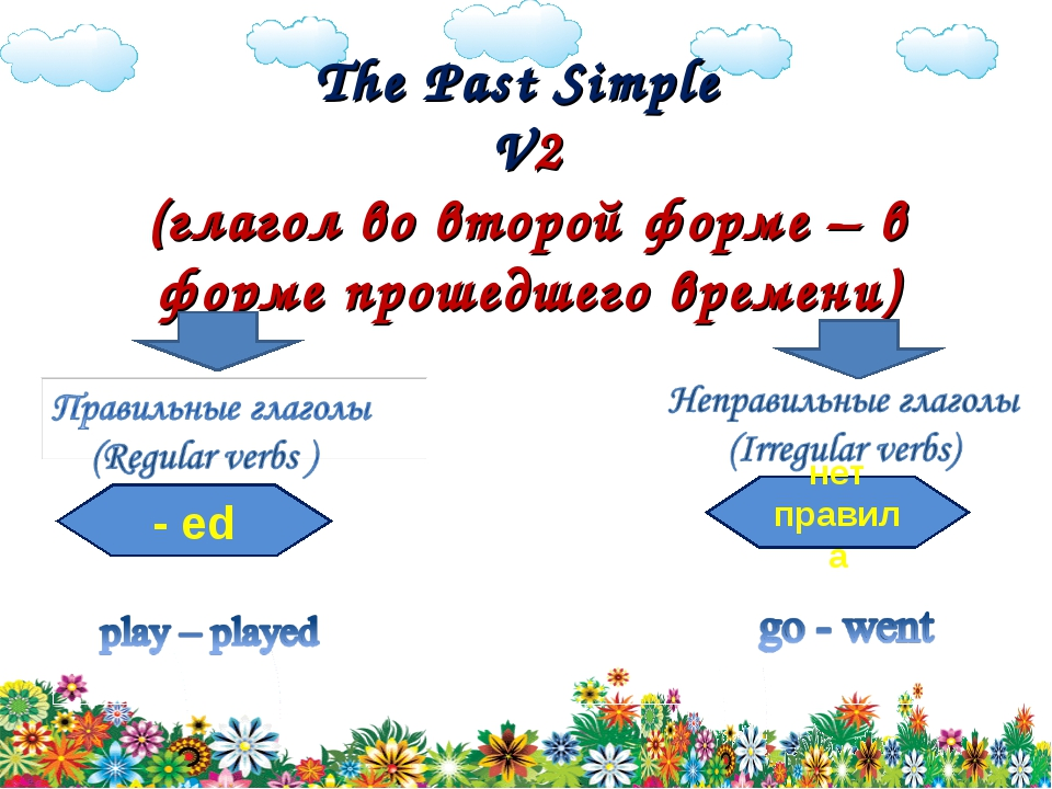 The Past Simple V2 (глагол во второй форме – в форме прошедшего времени) - e...