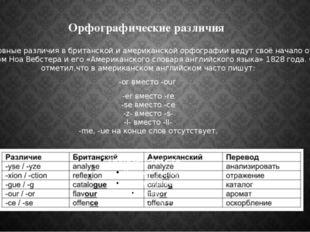 Орфографические различия Основные различия в британской и американской орфогр