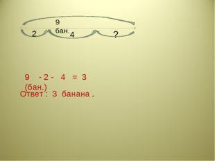 9 - 2 - 4 = 3 (бан.) Ответ : 3 банана . 9 бан. 2 4 ?