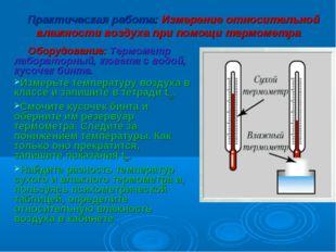 Практическая работа: Измерение относительной влажности воздуха при помощи тер