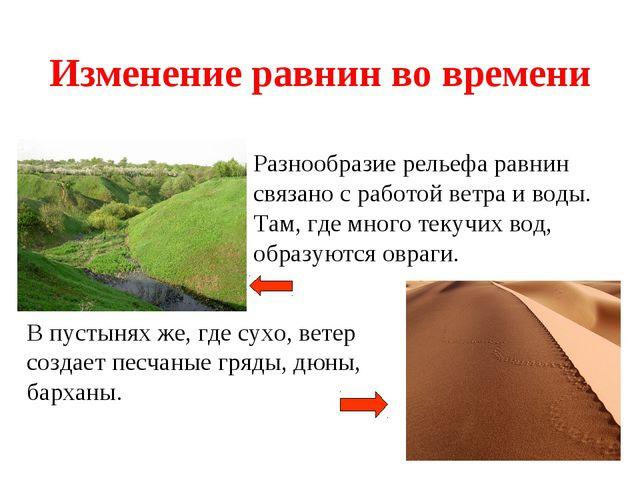 Изменение равнин во времени Разнообразие рельефа равнин связано с работой вет...