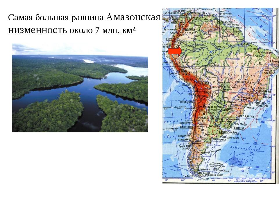 Самая большая равнина Амазонская низменность около 7 млн. км2.