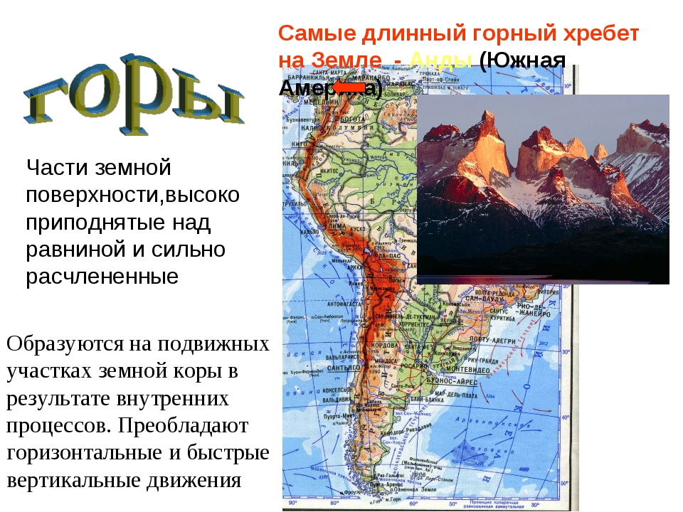 Самые длинный горный хребет на Земле - Анды (Южная Америка) Образуются на под...