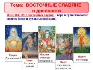 ЯЗЫЧЕСТВО Восточных славян - вера в существование многих богов и духов (много