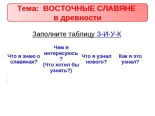 Заполните таблицу З-И-У-К Что я знаю о славянах?Чем я интересуюсь? (Что хоте
