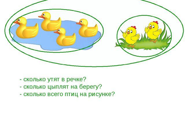 - сколько утят в речке? - сколько цыплят на берегу? - сколько всего птиц на...