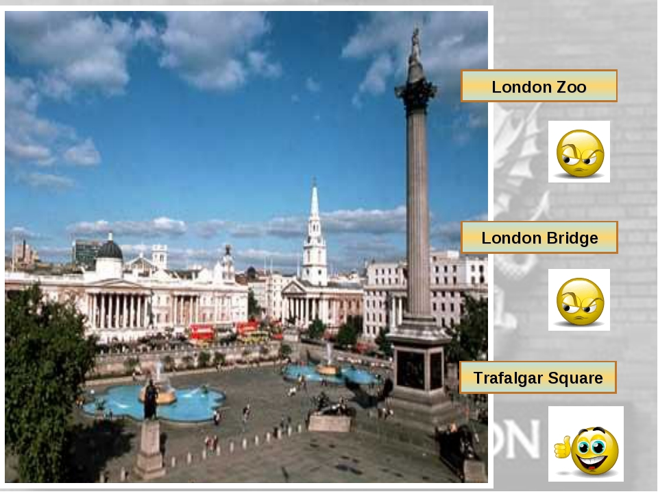 London Zoo London Bridge Trafalgar Square