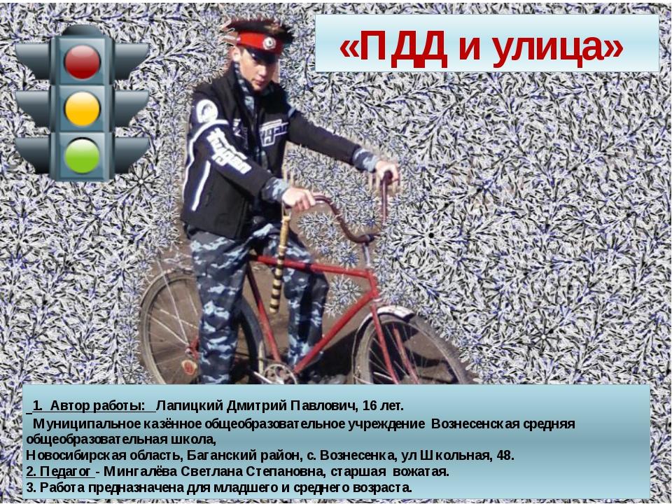 «ПДД и улица» 1. Автор работы: Лапицкий Дмитрий Павлович, 16 лет. Муниципальн...