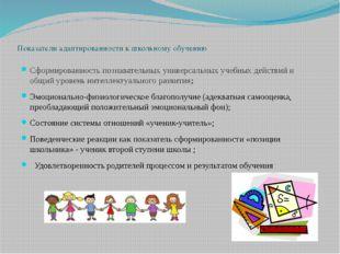Показатели адаптированности к школьному обучению Сформированность познаватель