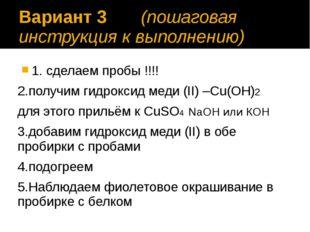 Вариант 3 (пошаговая инструкция к выполнению) 1. сделаем пробы !!!! 2.получим