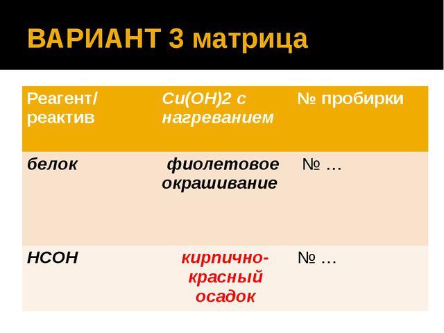 ВАРИАНТ 3 матрица Реагент/ реактив Сu(OН)2 с нагреванием № пробирки белок фио...