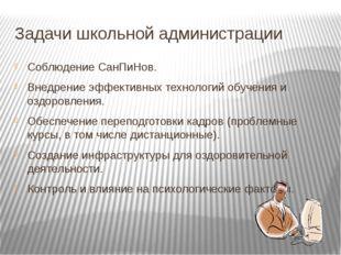 Задачи школьной администрации Соблюдение СанПиНов. Внедрение эффективных техн