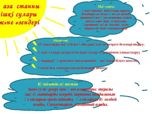 Қазақстанның ішкі сулары және өзендері Мақсаты Қазақстанның ішкі сулары тура...