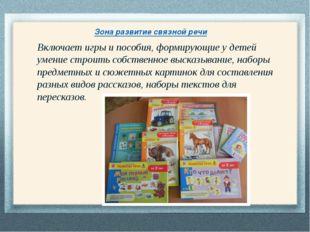 Зона развитие связной речи Включает игры и пособия, формирующие у детей умен