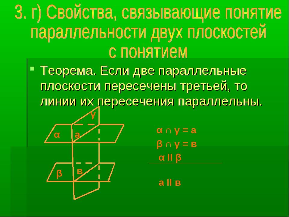 Теорема. Если две параллельные плоскости пересечены третьей, то линии их пере...